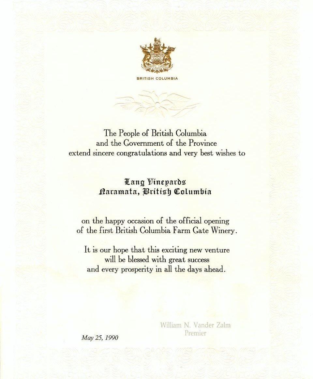 Farm Gate Winery Certificate